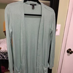 Mint duster sweater